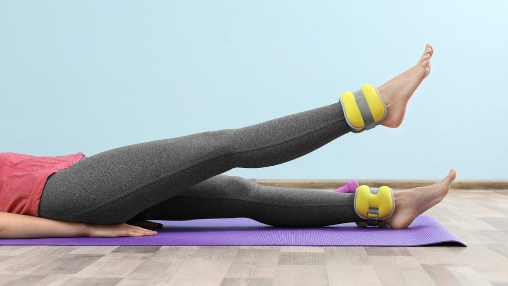 Yellow ankle weights
